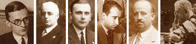 Los ajedrecistas Dr. Rey, Dr. Marín, Almirall, Doménech, Dr. Lafora y Dr. Mundi