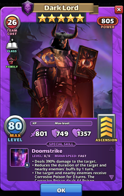 Dark Lord Hero Card Empires and Puzzles