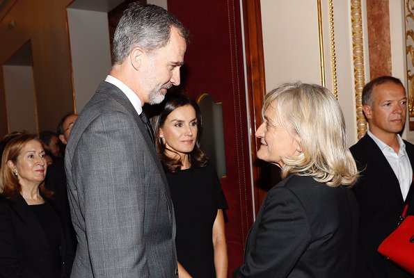 King Felipe his wife Queen Letizia and Spanish Prime Minister Pedro Sanchez offer their condolences to Pilar Goya