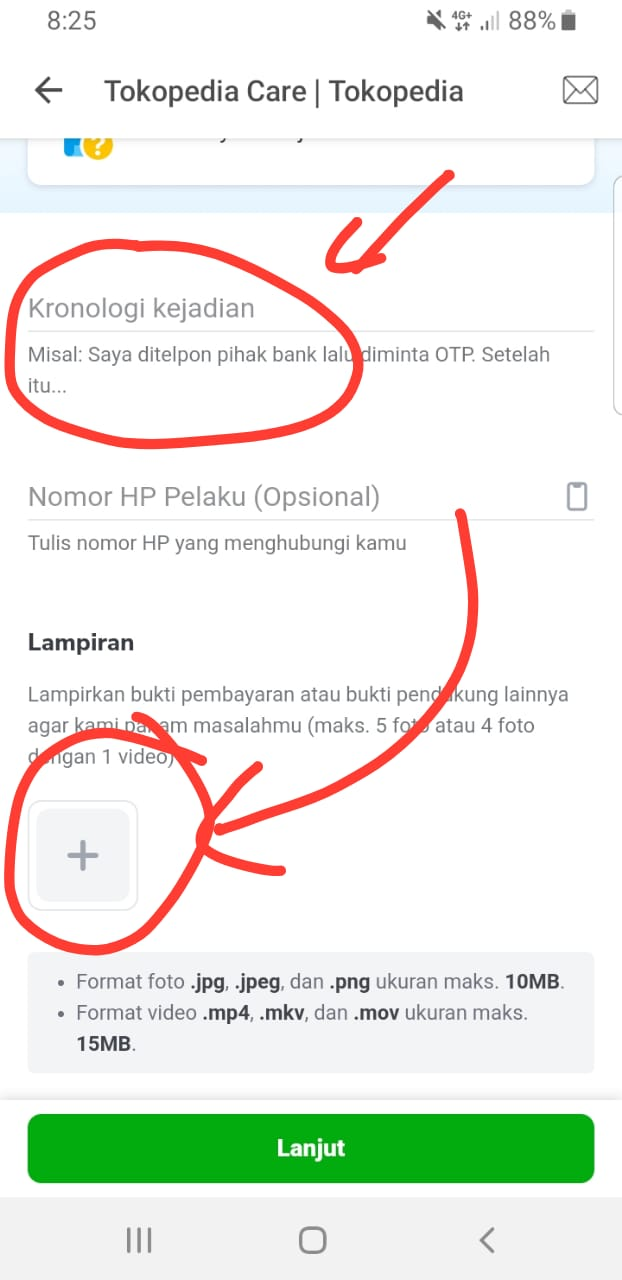 Screenshoot Masalah Tokopedia