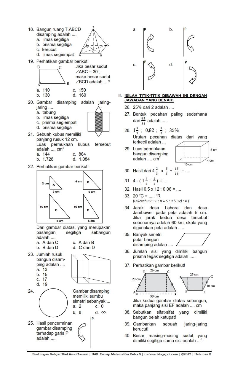 Download Soal Ukk Uas Genap Matematika Kelas 5 Sd Mi Semester 2 Terbaru Tahun 2017 Rief Awa
