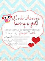 Custom Designed Owl Baby Shower Invitations and Printables - KISS Freelance Designs