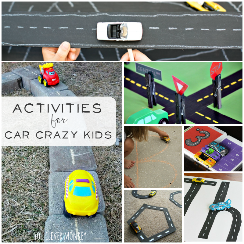 Activities for Car Crazy Kids - use your toy car collection to its full potential with this amazing list of activities to do with cars. Plenty of ideas for maths, literacy, early science, pretend play along with arts and craft ideas to try at home and in the classroom with your toddler to preschooler | you clever monkey
