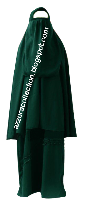 azzuracollection: Stelan Jubah Cadar Polos Hijau Botol