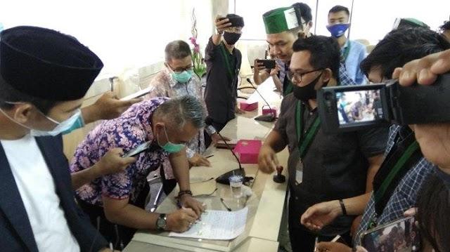 4 Anggota DPRD Lampung Bersama HMI Bandar Lampung Sepakat Tolak Omnibus Law