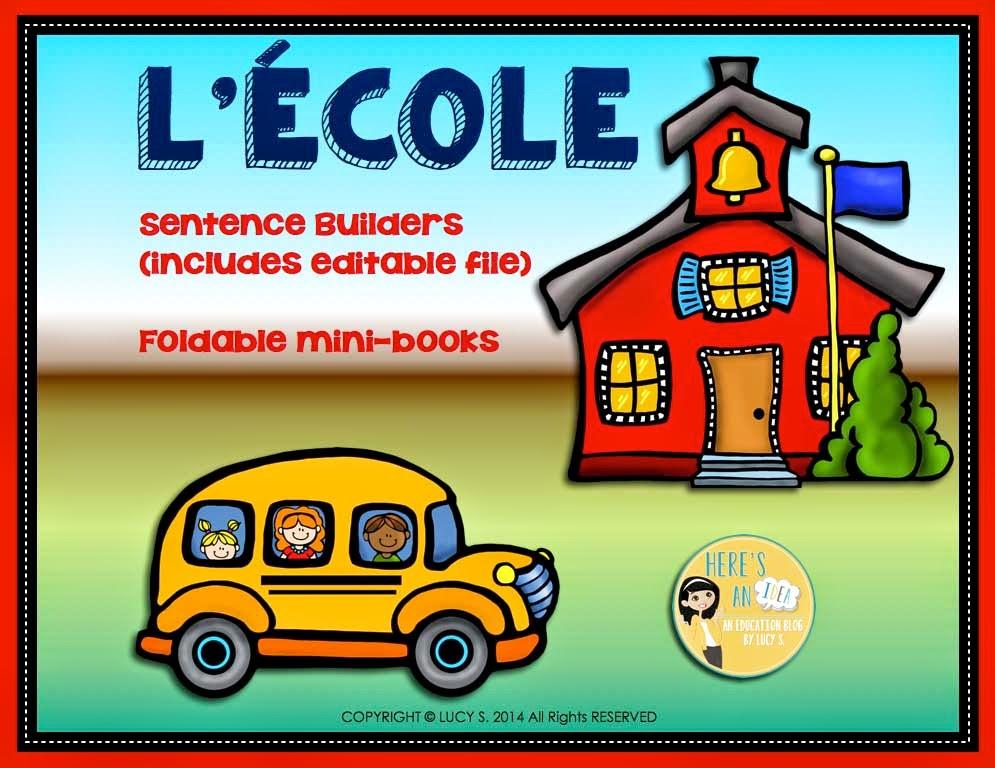 French L'école Sentence Builders Editable