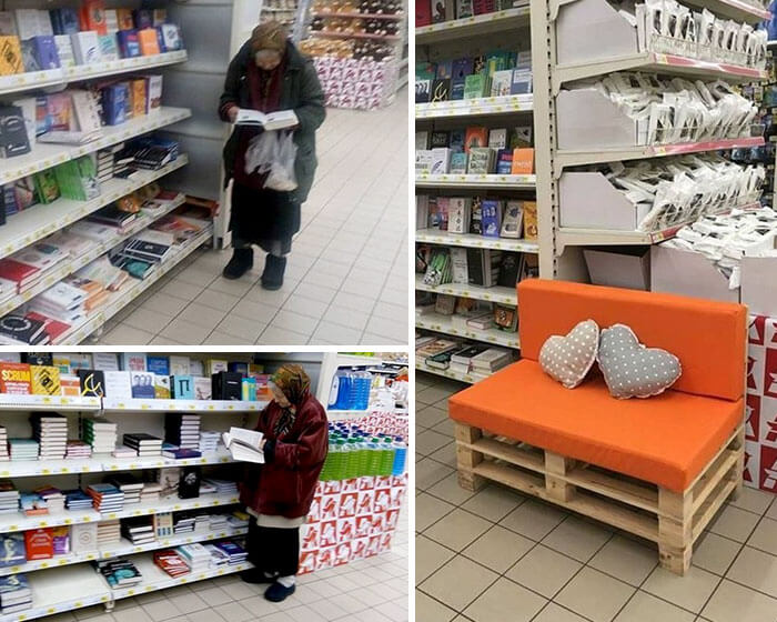 30 Heartwarming Photos That Restored Our Faith In Humanity - This Old Lady Goes To The Supermarket To Read Books All The Time So The Manager Put A Little Bench For Her