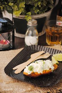 Boniatos con crème freïche y cebollino