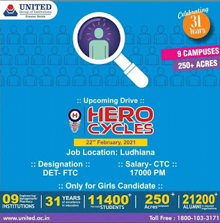 ITI and Diploma Job Campus Placement For Hero Cycles Limited Ludhiana, Panjab Interview on 22th February  2021 at Noida