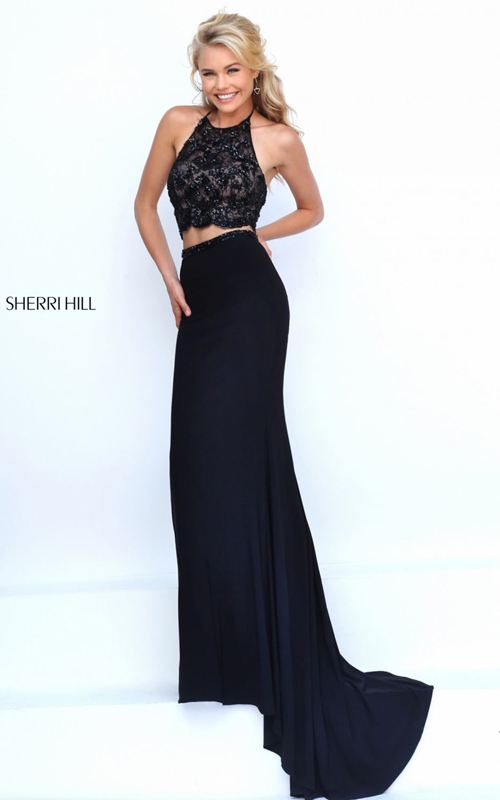 4ec81fd5ecc You will be looking sure fire in Sherri Hill 50129. This two-piece set gown  offers a high scoop neckline with beaded appliques fully-adorn the crop top.