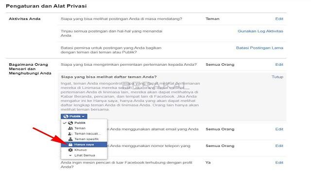 Cara Menyembunyikan Daftar Teman Bersama di FB