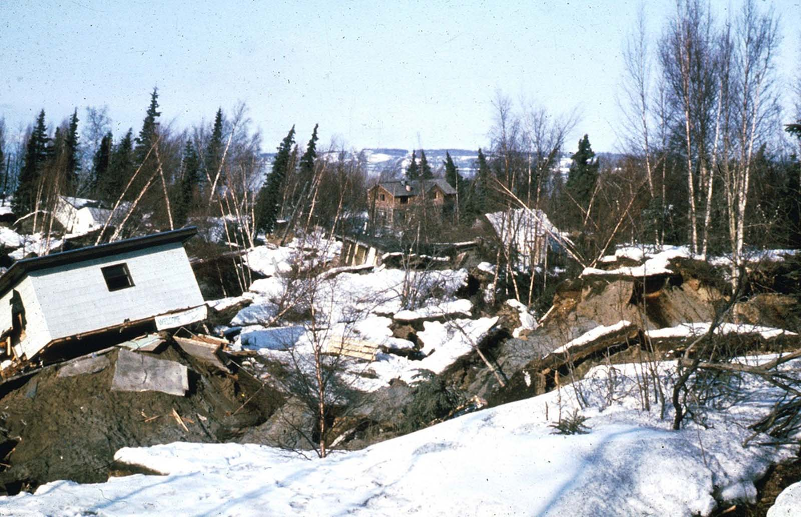 Damaged homes in the Turnagain Heights landslide area in Anchorage.