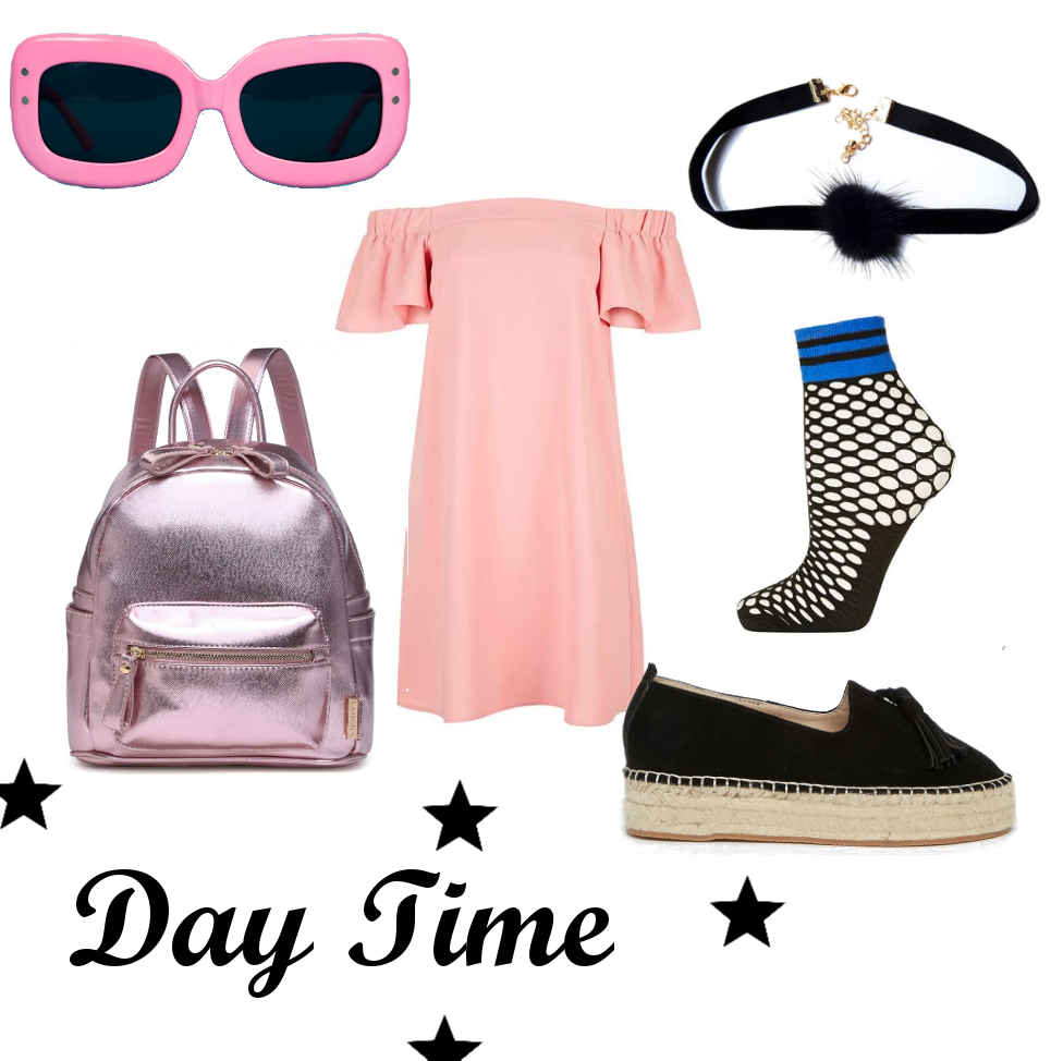 daytime summer ootd outfit, alternative grunge espadrille fashion style inspiration, fishnet socks, choker, metallic backpack, bardot frilly dress, choker, vintage pink square sunglasses