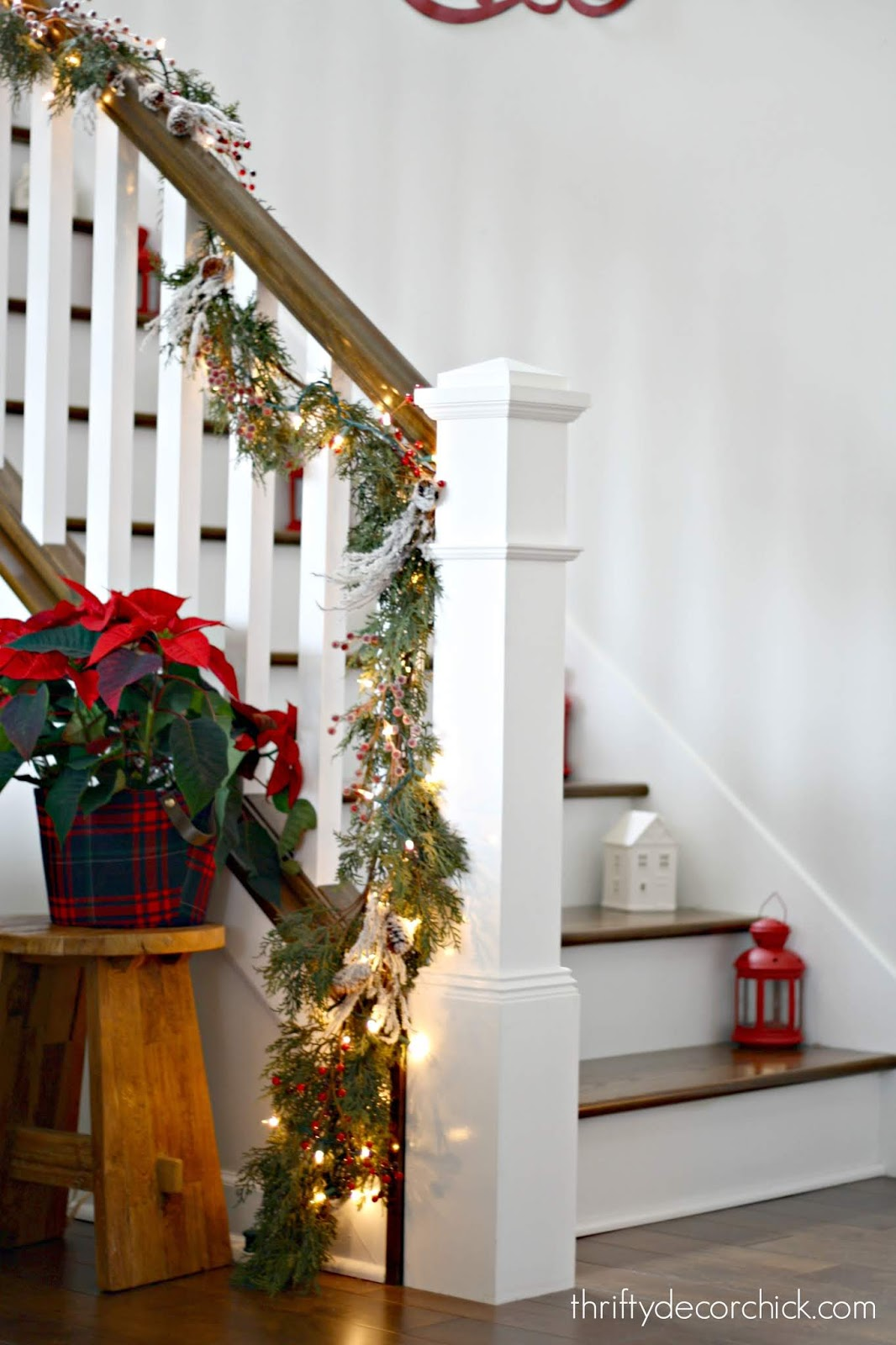White balusters wood steps