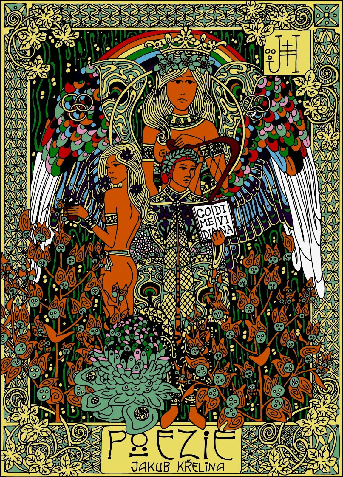 Ilustrace básnické sbírky Jakuba Křeliny s motivem Danta Alighieriho (autor ilustrace: Jan Hachran)