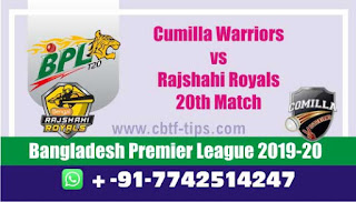Who will win Today BPL T20, 20th Match Comilla vs Rajshahi - Cricfrog