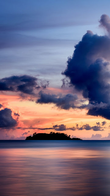 Wallpaper Sea, Clouds, Horizon, Island, Sky, Sunset