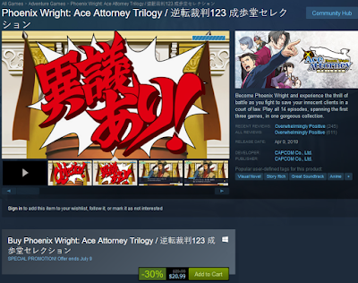 Phoenix Wright Ace Attorney Trilogy Steam CAPCOM sale July 2019 30% off