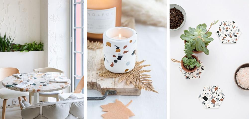 tendencia decoración terrazo mesa vela y posavasos