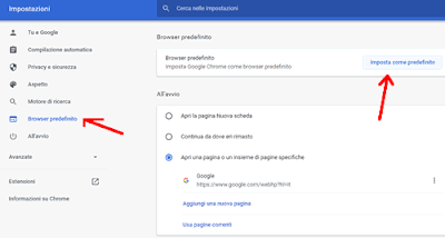 Come impostare Chrome come browser predefinito