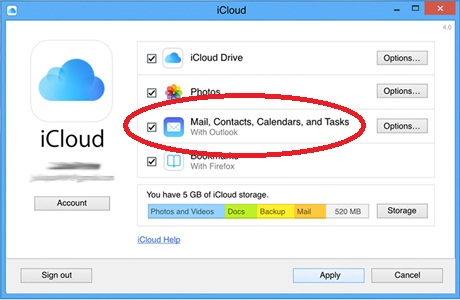 select contacts and calendars in icloud