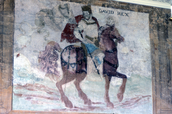 Photograph of North Mymms House wall painting King David, one of the 'worthies'image from the NMLHS, part of the Images Of North Mymms Collection