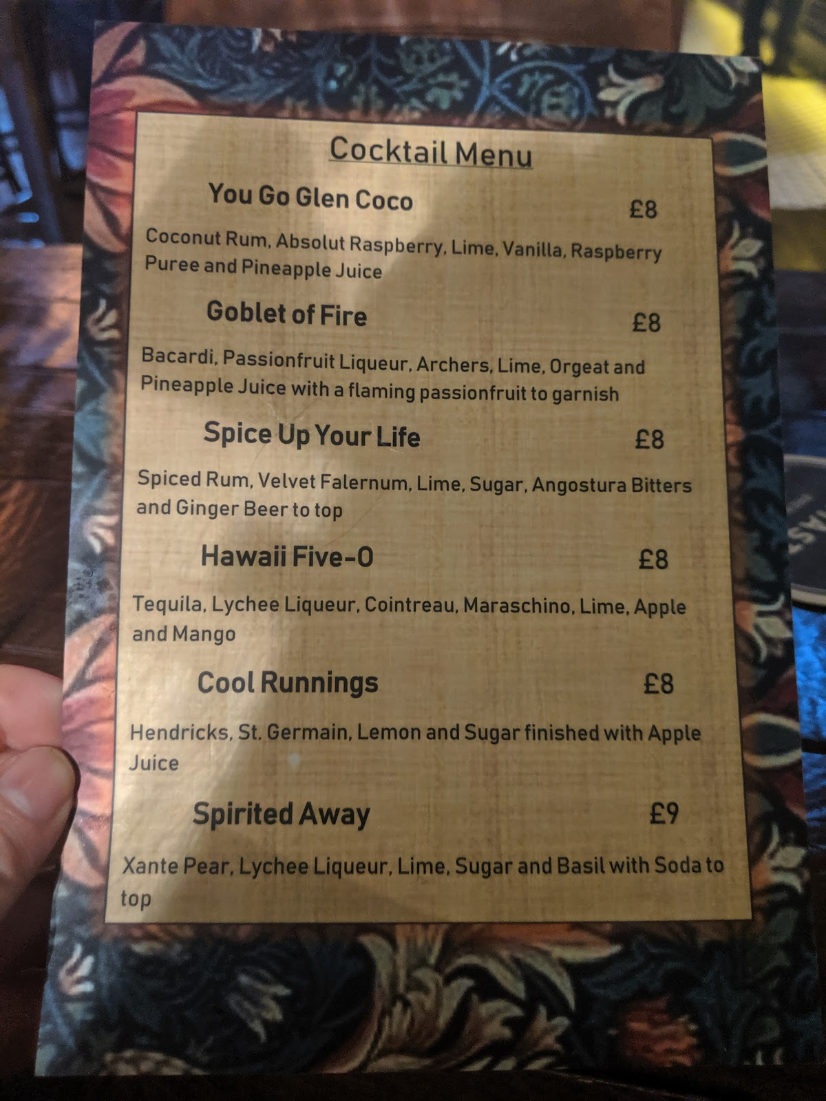Where to go for cheap (but nice) drinks near Monument in Newcastle Upon Tyne - beeronomy cocktali menu