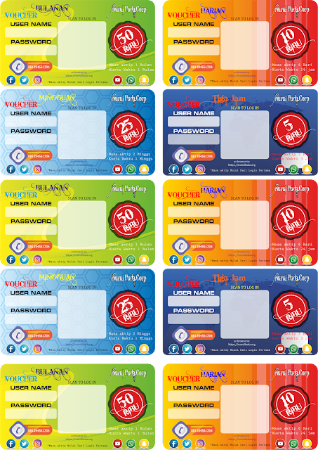 Template Voucher Mikrotik Versi cdr (Corel Draw)
