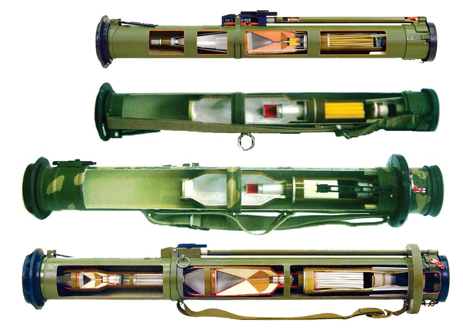 Порівняння конструкцій РШГ-2 і РШГ-1 (в центрі) з РПГ-26 і РПГ-27. (Фото: НВО «Базальт»)