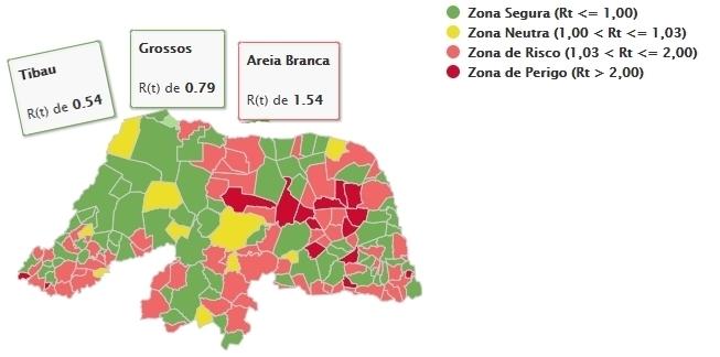 Covid-19: Grossos e Tibau estão na zona segura; Areia Branca na zona de risco