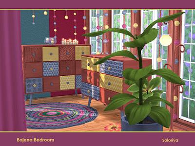 Bojena Bedroom Божена Спальня для The Sims 4 Набор мебели для ваших спален. Включает 10 объектов, имеет 2 цветовые палитры. Предметы в наборе: -кровать, -кровать с подушками, -кровать с занавесками, -два комода, -подушка с функциональными полками, - три настенные скульптуры, -напольная подушка. Автор: soloriya