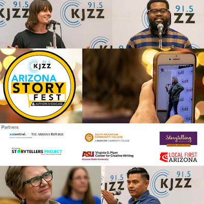Collage of storytellers speaking into a mic on a KJZZ stage.   Logos for sponsors and partners.