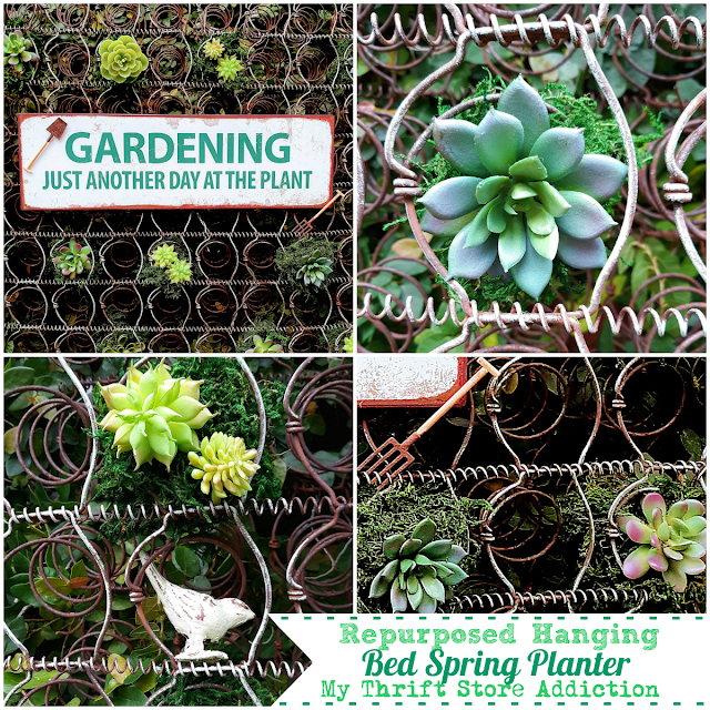 Repurposed Hanging Bed Spring Planter