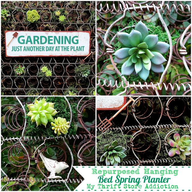Repurposed Hanging Bed Spring Planter