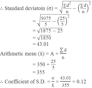 Example 1 calculation of standard deviation by deviation method