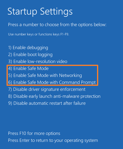 safe mode windows 10