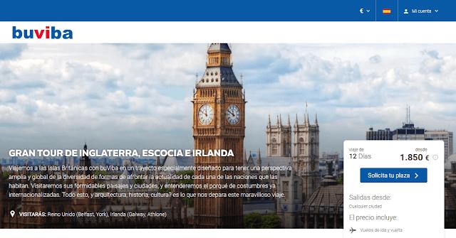 Viaje organizado a Inglaterra, Escocia e Irlanda