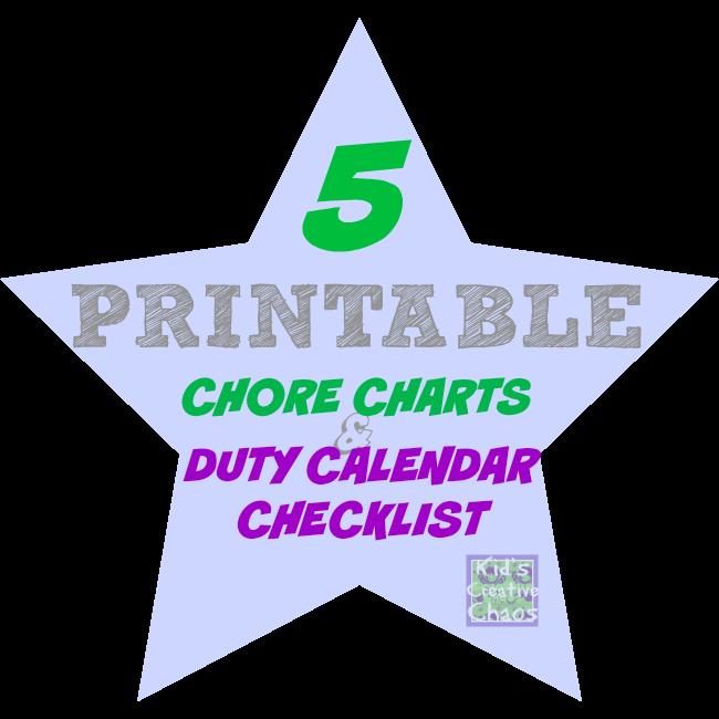 5 Printable Duty Calendar Charts For Children