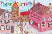 ostermotiv gemalt ostern feiern osterhase kinderzeichnung stadt