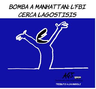 manhattan, pentola a pressione, bombe, attentato, fbi, satira, vignetta