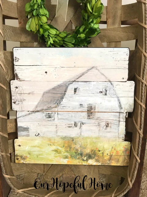 pallet wood painting of old barn