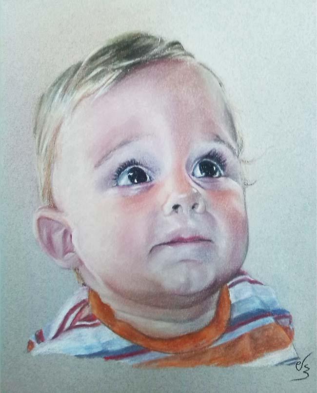 Retrato cuadro de bebé con camiseta a rayas