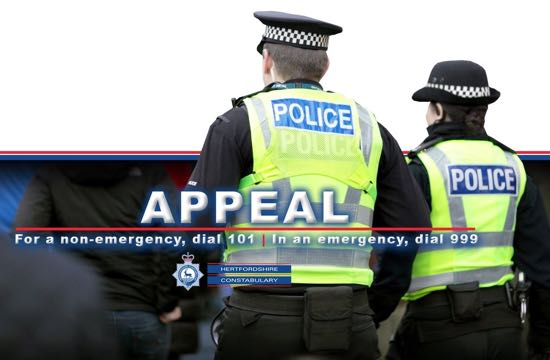Hertfordshire police crime appeal graphic