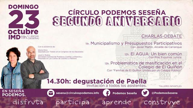 cartel annciador de la actividada segundo aniversario de PODEMOS seseña