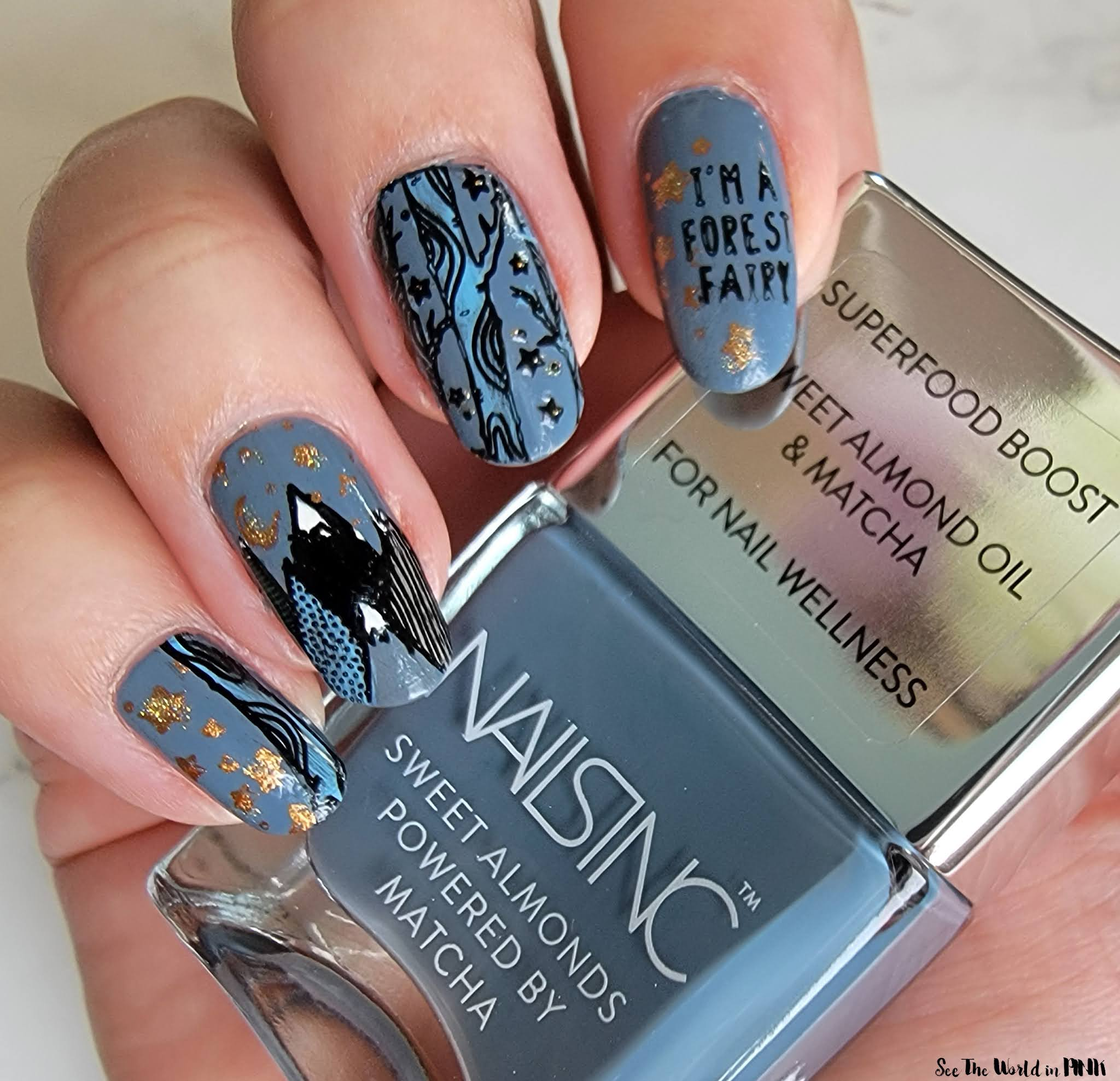 Manicure Monday - Stamped Fall Mountain Nails