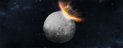 Artist's concept of a massive 'hit-and-run' collision hitting Asteroid Vesta