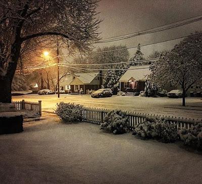 Snowfall at night in the suburbs