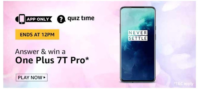 Amazon Quiz Answers Today 09 August 2020 Win One Plus 7T Pro