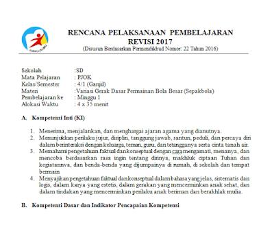 RPP PJOK Kelas 4 Semester 1 Kurikulum 2013 Revisi 2017 Minggu 1 sampai 9