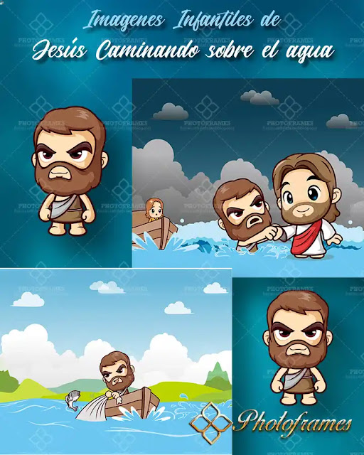 Imágenes infantiles de Jesús caminando sobre el agua